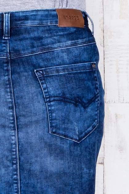 Niebieska jeansowa spódnica mini z przetarciami i kieszeniami PLUS SIZE                                  zdj.                                  6