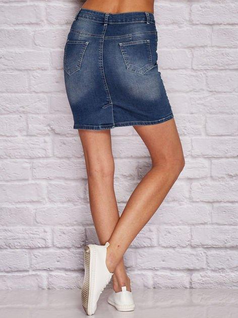 Niebieska jeansowa spódnica z przetarciami                              zdj.                              2