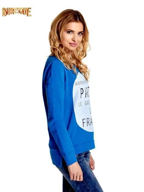 Niebieska klasyczna bluza damska z napisem AVENUE MONTAIGNE                                  zdj.                                  3