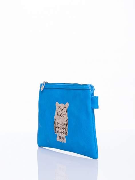 Niebieska kopertówka z dżetami motyw sowy                                  zdj.                                  3