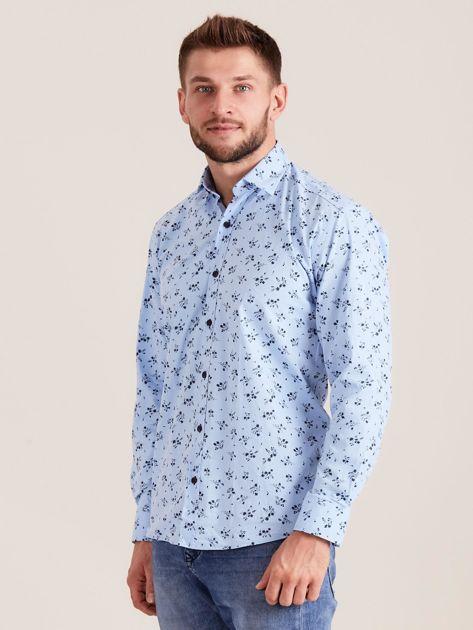 Niebieska koszula męska w roślinne wzory                              zdj.                              3