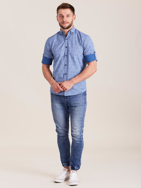 Niebieska koszula męska we wzory                              zdj.                              4