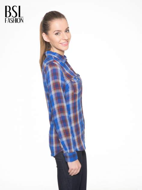 Niebieska koszula w kratę z gwiazdkami przy kieszonkach                                  zdj.                                  4