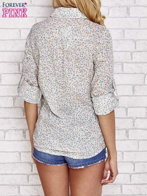 Niebieska koszula w łączkę z koronkową wstawką                                  zdj.                                  4