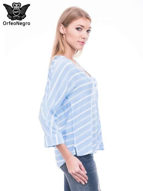 Niebieska koszula w paski z rękawem 3/4                                  zdj.                                  3