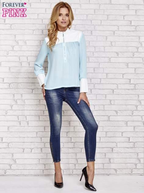 Niebieska koszula ze skórzanymi pikowanymi wstawkami                                  zdj.                                  2