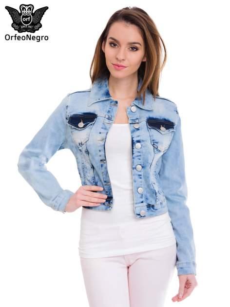 Niebieska kurtka jeansowa damska z cieniowaniem