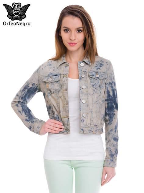 Niebieska kurtka jeansowa damska z efektem tie-dye                                  zdj.                                  1