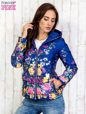 Niebieska kurtka z kwiatowym motywem                                  zdj.                                  4