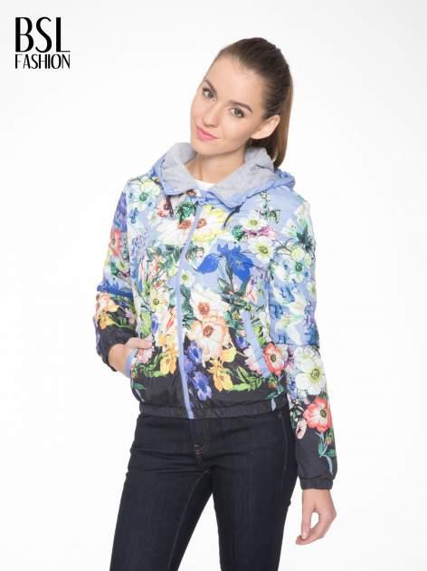 Niebieska kwiatowa kurtka bomber jacket z kapturem                                  zdj.                                  1