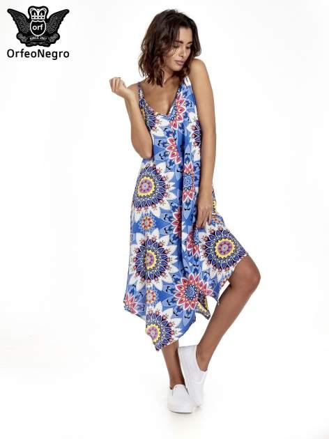 Niebieska letnia sukienka w kwiaty
