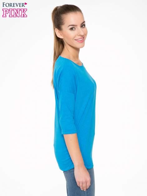 Niebieska luźna bluzka z rękawem 3/4                                  zdj.                                  3