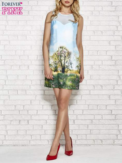 Niebieska malowana sukienka z siateczkowym karczkiem                                  zdj.                                  4