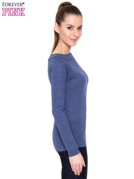 Niebieska melanżowa gładka bluzka z reglanowymi rękawami                                  zdj.                                  3