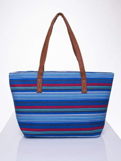 Niebieska plażowa torba w paski ze skórzaną rączką                                  zdj.                                  1