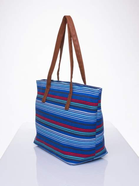 Niebieska plażowa torba w paski ze skórzaną rączką                                  zdj.                                  2