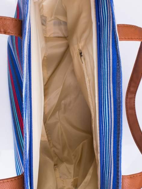 Niebieska plażowa torba w paski ze skórzaną rączką                                  zdj.                                  3