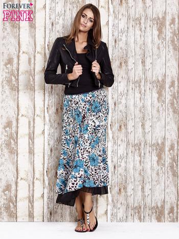 Niebieska plisowana spódnica midi z brokatem                                  zdj.                                  2