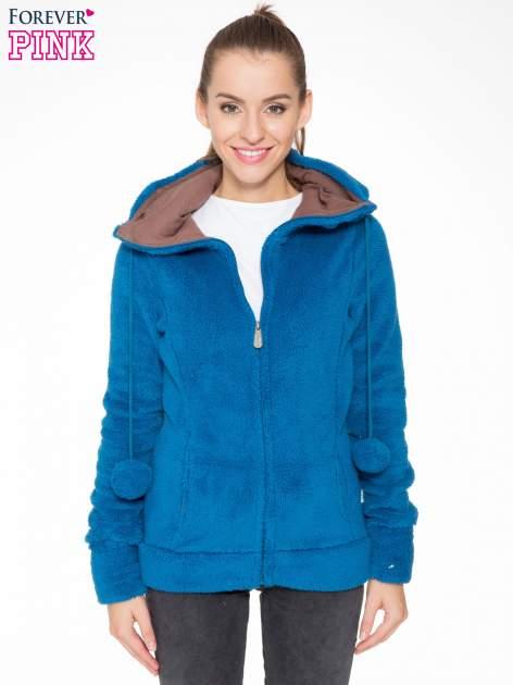 Niebieska polarowa bluza miś z kapturem z uszkami i pomponami                                  zdj.                                  1