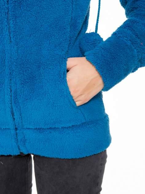 Niebieska polarowa bluza miś z kapturem z uszkami i pomponami                                  zdj.                                  8