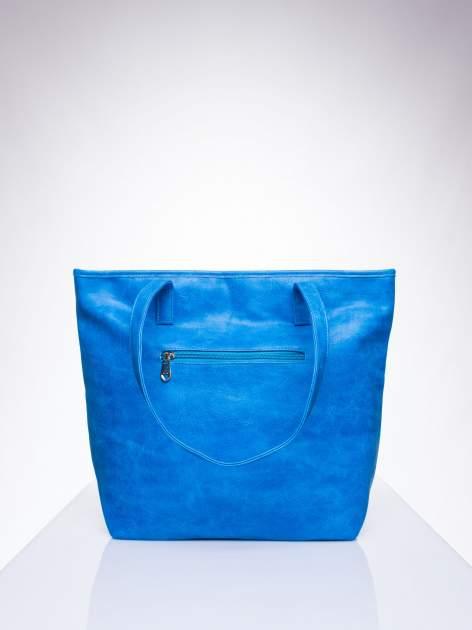 Niebieska prosta torba shopper bag ze złotymi okuciami                                  zdj.                                  3