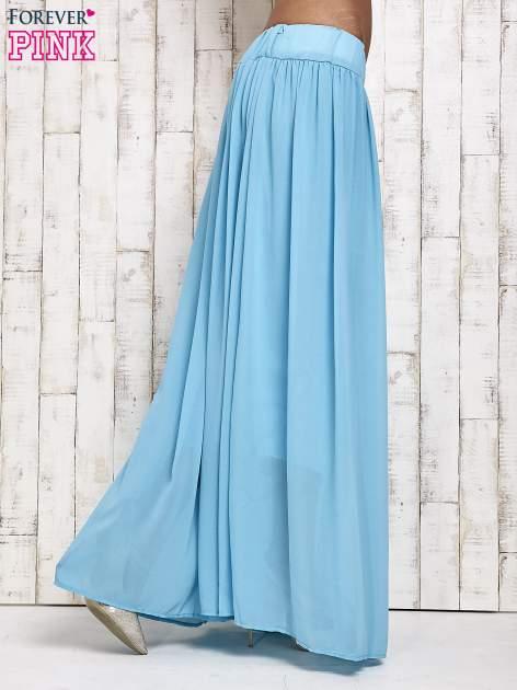 Niebieska spódnica maxi na gumkę w pasie                                  zdj.                                  2