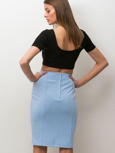 Niebieska spódnica z pikowaną wstawką                              zdj.                              2