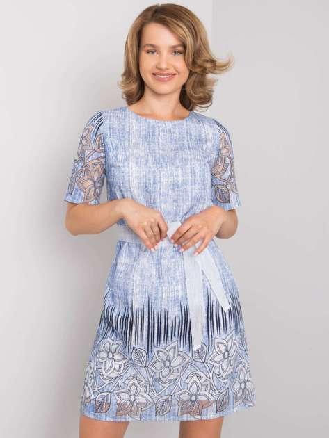 Niebieska sukienka damska z paskiem Armandine