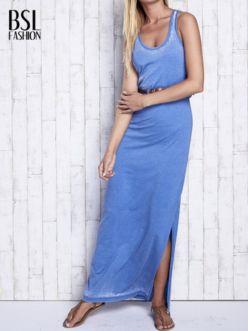 Niebieska sukienka maxi acid wash                                  zdj.                                  1