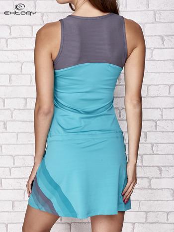 Niebieska sukienka sportowa z szarymi wstawkami                                  zdj.                                  2