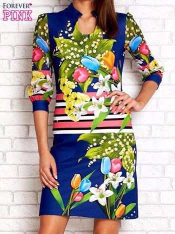 Niebieska sukienka w kwiaty                                  zdj.                                  1
