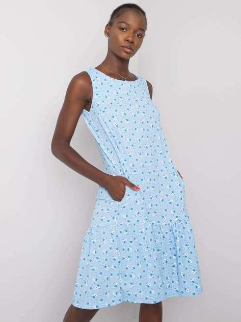 Niebieska sukienka w kwiaty z falbaną Joice RUE PARIS