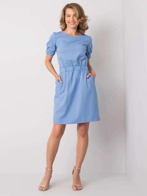 Niebieska sukienka w paski Merline