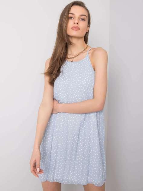 Niebieska sukienka we wzory Sage SUBLEVEL