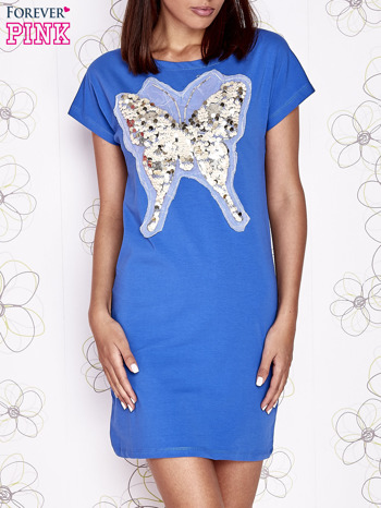 Niebieska sukienka z cekinowym motylem