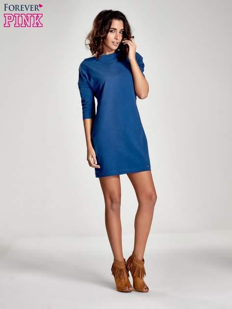 Niebieska sukienka z dekoltem w łódkę                                  zdj.                                  8