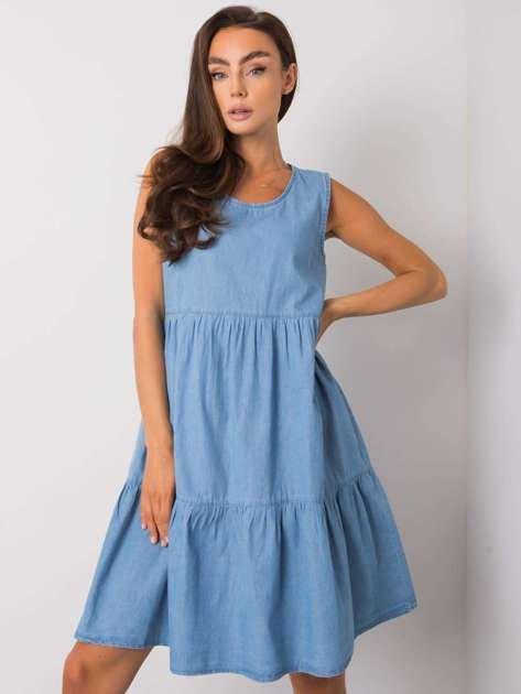 Niebieska sukienka z falbaną Delfine RUE PARIS