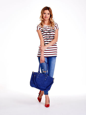 Niebieska torba city bag na ramię                                  zdj.                                  2