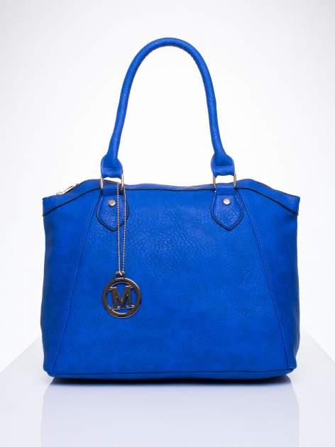Niebieska torba miejska ze złotą zaiweszką