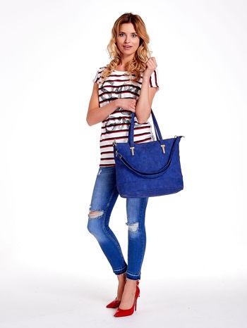 Niebieska torba shopperka z odczepianym paskiem                                   zdj.                                  3
