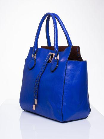 Niebieska torba z ozdobnymi skórzanymi troczkami                                  zdj.                                  3