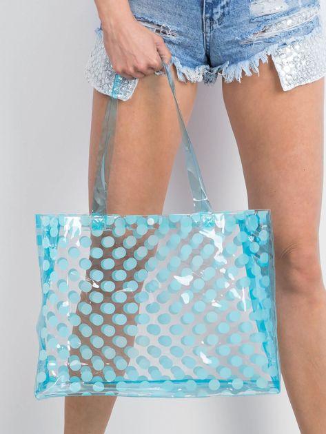 Niebieska transparentna torba w grochy                              zdj.                              3