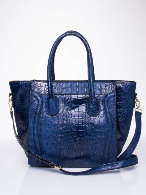 Niebieska trapezowa torba miejska z efektem skóry krokodyla                                  zdj.                                  1