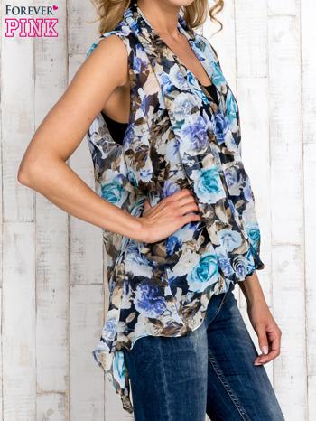 Niebieska warstwowa bluzka koszulowa w kwiaty                                  zdj.                                  3