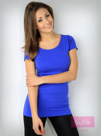 Niebieski basicowy t-shirt For Fitness