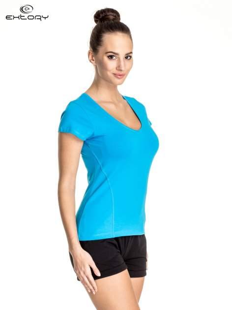Niebieski damski t-shirt sportowy z dekoltem U                                  zdj.                                  3