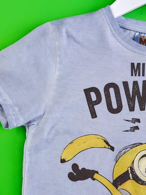 Niebieski dekatyzowany t-shirt chłopięcy MINIONKI                                  zdj.                                  3