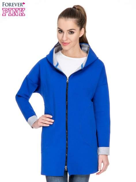 Niebieski dresowy płaszcz oversize z kapturem                                  zdj.                                  1
