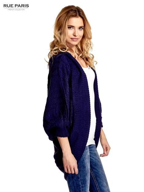 Niebieski dziergany sweter typu otwarty kardigan                                  zdj.                                  5