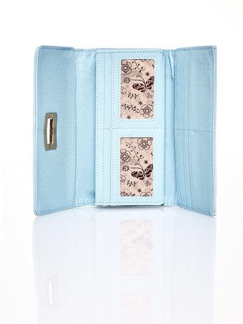 Niebieski fakturowany portfel ze stylizowanym zapięciem                                   zdj.                                  4